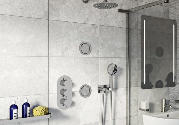 Mode Spa thermostatic triple shower valve and wall shower set