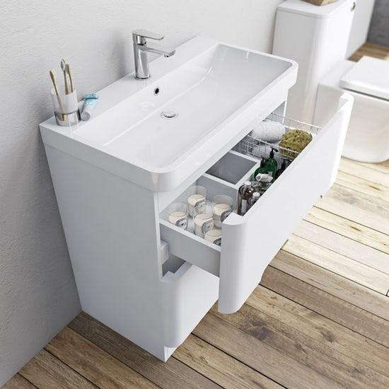 Mode Ellis white floorstanding vanity drawer unit and basin 800mm