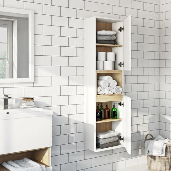 Mode Tate white & oak wall hung cabinet 1400 x 400mm